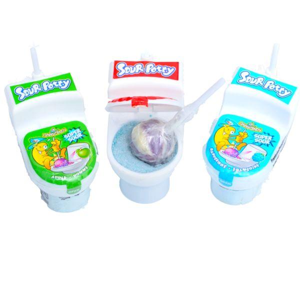 Sour Potty Toilette, Lolli mit Brausepulver, 19 g