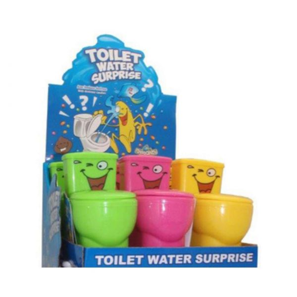 Scherz-Toilette mit Wasserüberraschung und Süßwaren