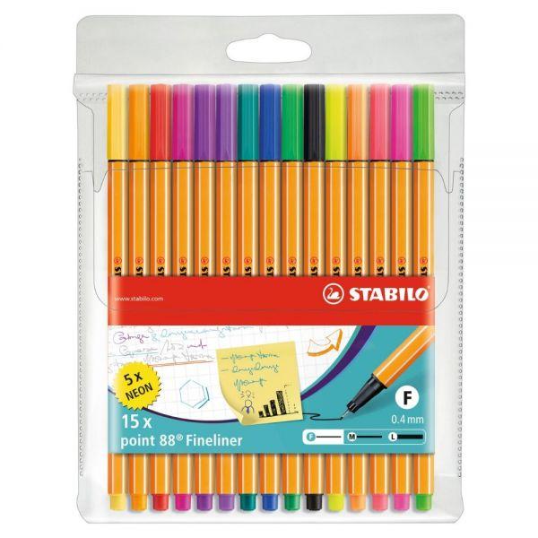Fineliner Stabilo point 88: 10 Farben und 5 Neon