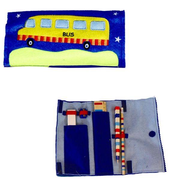 Stoff-Federmappe Bus, gefüllt