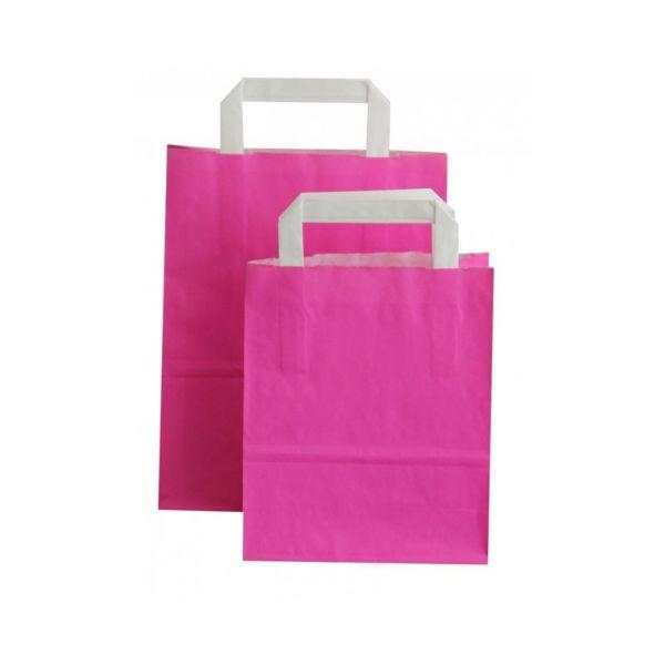 Kraftpapiertüte mit Henkel, pink, 22 x 18 x 8 cm