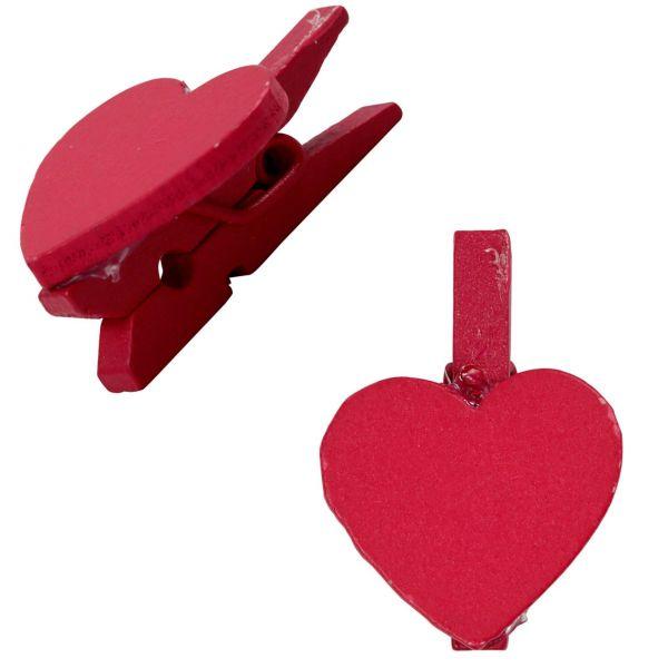 Holzklammer Herz mini, dunkelpink, 1 Stück