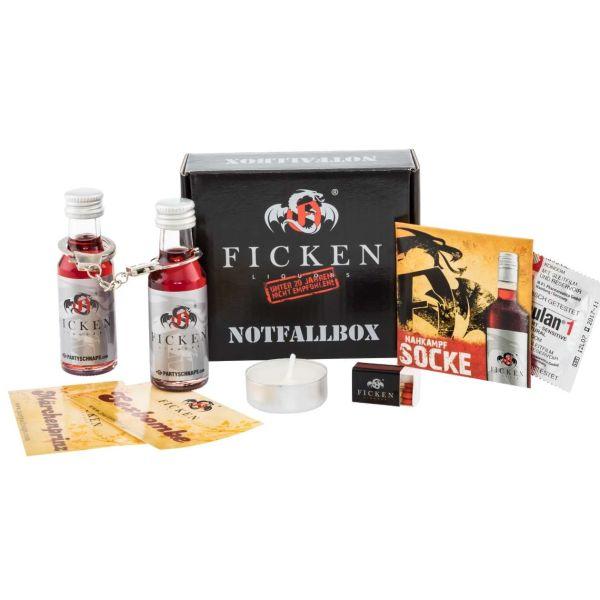 Ficken Notfallbox: Ficken-Likör, Handschelle, Kondom und mehr