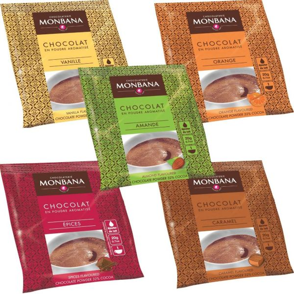Monbana Trinkschokolade, verschiedene Sorten