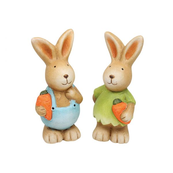 Deko Hase mit Karotte, Keramik, 12 cm, sortiert