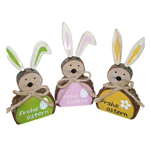 Holzfigur Hase, Frohe Ostern, sortiert