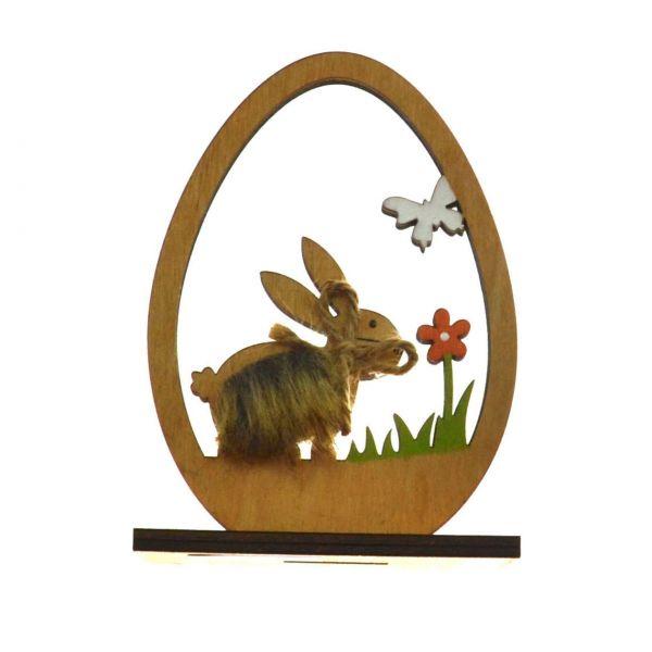 Osterdeko Figur Holz: Hase, 12 cm